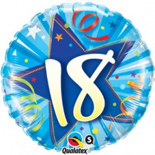 18th Birthday Shining Star Bright Blue Foil Balloon 18""